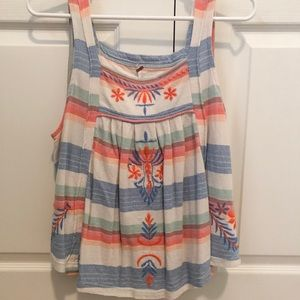 Free people striped embroidered swing top! Size M